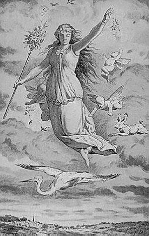 Ostara, la festa della primavera. Raffigurazione del XIX secolo