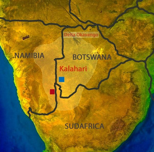 Il punto rosso sulla mappa, al confine tra Namibia e Sudafrica, indica la presunta ubicazione delle formazioni rocciose di Clement. Il punto blu indica la pista che vedete nella foto sopra, da me percorsa. Carta Sabina Marineo
