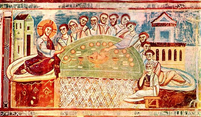 Pasqua cristiana. Ultima cena. Chiesa del convento di Sant'Angelo presso Formis (Capua). Maestro italo-bizantino ca. 1100.
