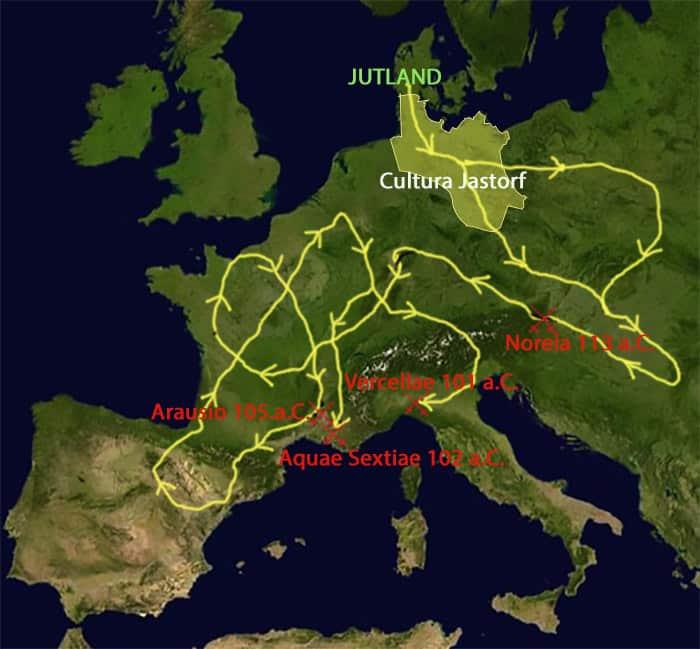 Carta che rappresenta la diffusione della Cultura di Jastorf e nei secoli