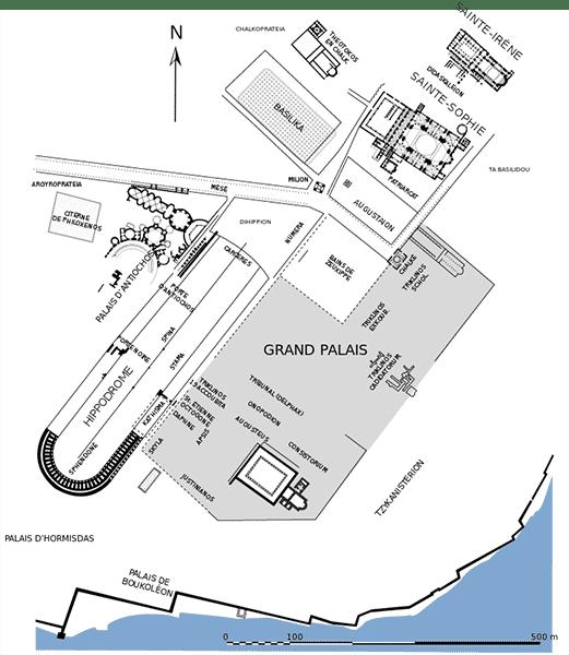 Mappa dell'Ippodromo e del quartiere del palazzo imperiale di Bisanzio. Copyright: Marsyas CC BY 2.5