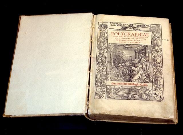 Manoscritto della Polygraphiae, un'altra opera dell'Abate Nero Tritemio.