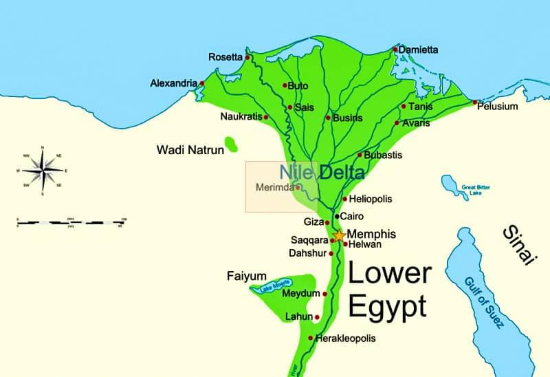 Il Delta del Nilo nel Basso Egitto con l'insediamento predinastico di Merimde. È forse esistito un regno in questa regione prima dei faraoni? Copyright: MinisterForBadTimes CC-BY-SA