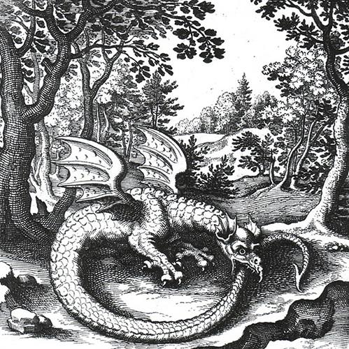 Ouroboros, il drago/serpente alchemico. Da: De lapide philosophico di Lucas Jennis, 1625