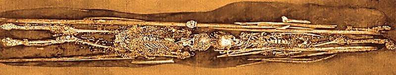Tomba 2 e 3, in cui furono deposti i bambini accompagnati da un imponente corredo funerario. Disegno di O. Bader