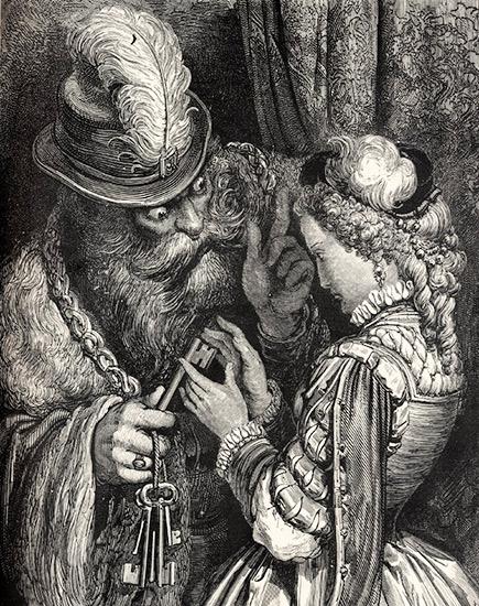 Barbablù e la chiave maledetta. Silografia di Gustave Doré per il racconto di Perrault, 1867.