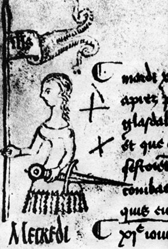 Illustrazione di Giovanna d'Arco tratta dal Protocollo del Parlamento di Parigi, 1429, Clément de Fauquembergue