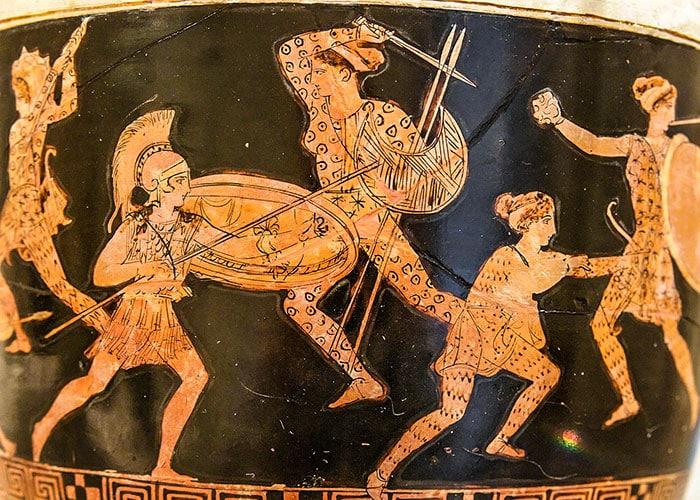 Amazonomachia, pittura greca su vaso, ca. 500 a. C. Foto: Marie Lan-Nguyen CC BY 2.5