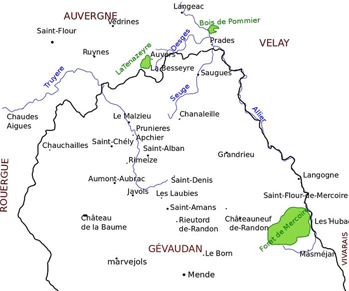 Francia meridionale. Mappa del territorio in cui ebbero luogo le aggressioni della