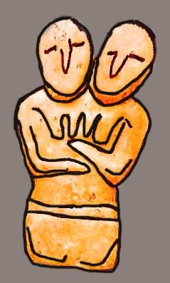 Riproduzione di una statuetta trovat a Cayönü. Una doppia immagine femminile. Forse una divinità? Copyright: Reimund Schertzl