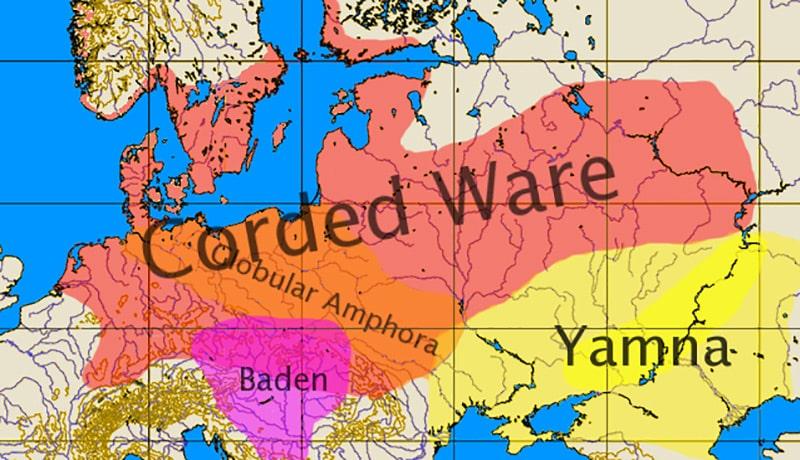 Diffusione della Cultura della ceramica cordata nel III millennio a. C. Carta: Dbachmann CC BY SA 3.0