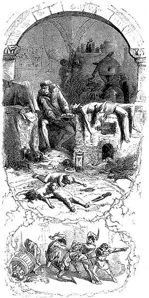 Gilles de Rais nel suo laboratorio di alchimista preleva il sangue delle vittime uccise. Illustrazione di j. A. V. Foulquier, 1862.