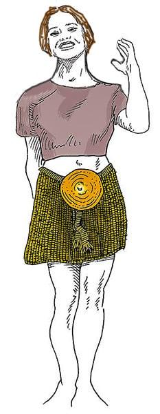 Ricostruzione dell'aspetto della ragazza. Un abbigliamento sorprendentemente moderno. Dalla cintura pende il misterioso disco con le incisioni a spirale.