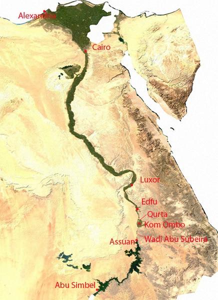 Posizione di Qurta nell'Alto Egitto, al margine nord della pianura alluvionale di Kom Ombo. Petroglifi simili si possono vedere anche nel wadi di Abu Subeira, fra Kom Ombo e Assuan. Carta: copyright Reimund Schertzl