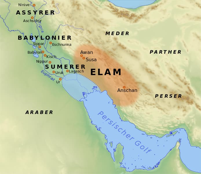 Posizione geografica dell'Elam in rapporto all'orizzonte culturale mesopotamico