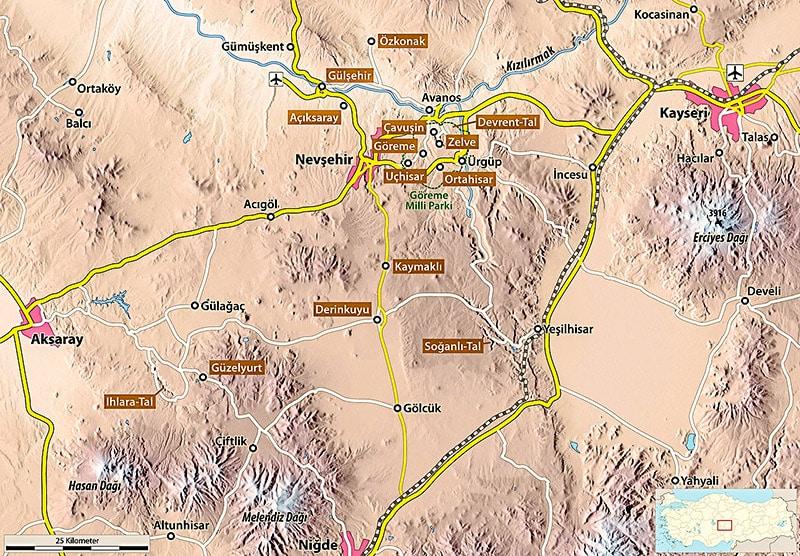 Su questa carta della Cappadocia si vedono alcuni dei siti con presenza di città sotterranee. Copyright: Maximilian Dörrbecker CC BY SA 2.5