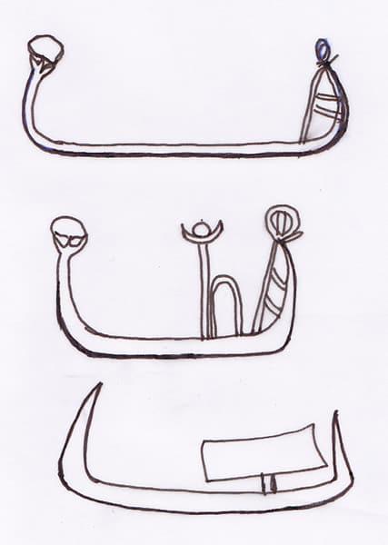 Confronto fra tre tipi di navi dall'incredibile somiglianza. Dall'alto in basso: nave mesopotamica tratta da un sigillo; nave raffigurata sul coltello egizio di Gebel-el-Araq; nave di Horus scolpita sulla Tavoletta di Narmer. Disegno: Sabina Marineo