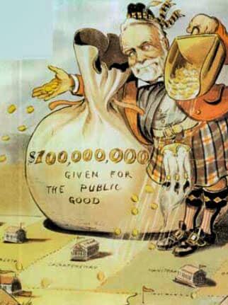Caricatura di Andrew Carnegie nelle vesti di filantropo. Louis Dalrympel, Puck Magazine, 1903.