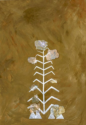 Dettaglio di albero. Da notare: sotto l'albero ci sono simboli di forma triangolare che potrebbero rappresentare le abitazioni a palafitta. Foto: Landesamt für Denkmalpflege im Regierungspräsidium Stuttgart