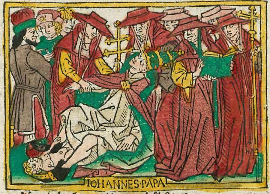 Raffigurazione del parto della papessa Giovanna. Pubblicazione di Heinrich Steinhöwel, 1474. Ulm.