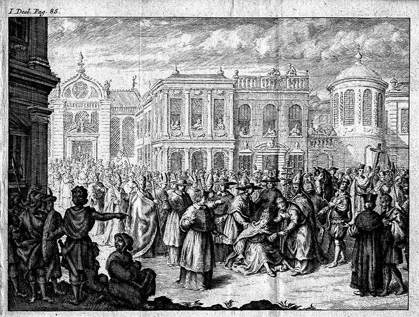 Ancora un'immagine della papessa Giovanna che partorisce sulla pubblica piazza. Anonimo rinascimentale