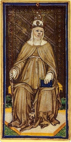 La Papessa dai tarocchi Visconti-Sforza di Bonifacio Bembo. 1450