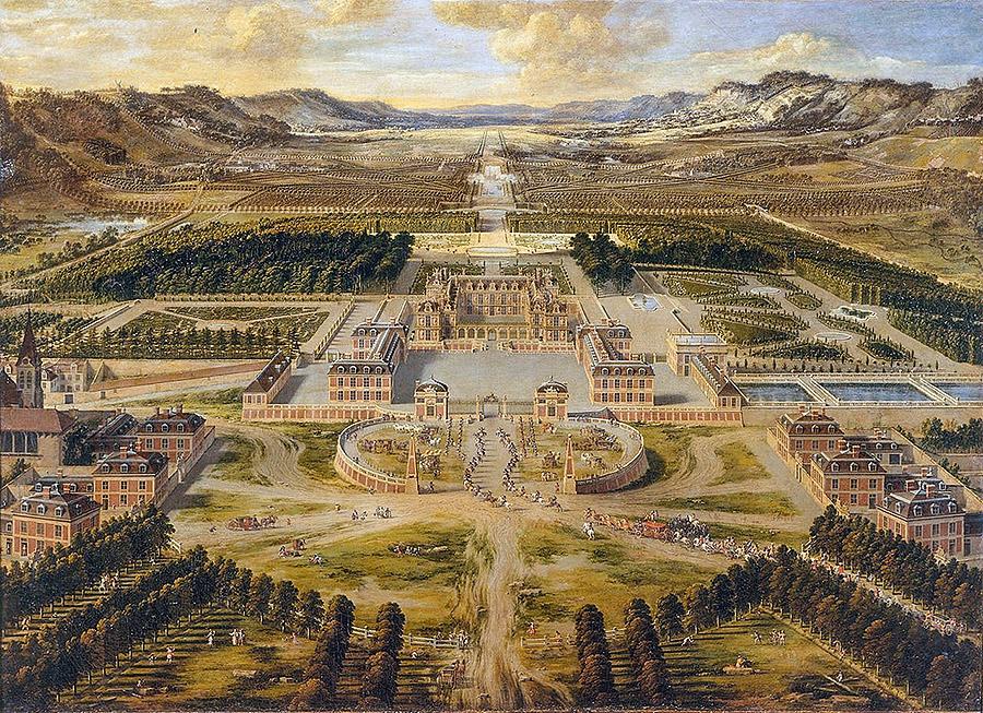 La reggia di Versailles nel 1668, dipinto di Pierre Patel.