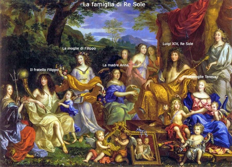 """La famiglia di Re Sole nel 1670. Versailles. Questo dipinto, intitolato """"L'Olimpo reale"""", è uno degli esempi più eclatanti della messinscena dello Stato. La famiglia di Luigi XIV ritratta come la progenie divina."""