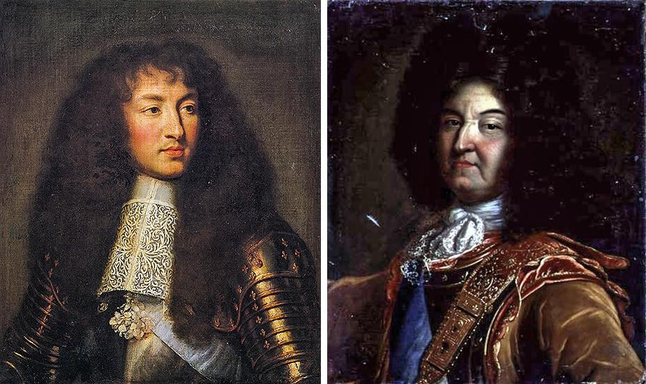 Due ritratti di Luigi XIV, Re Sole, che rappresentano il monarca durante la giovinezza, nel 1661 (Le Brun) e nella vecchiaia, 1701.