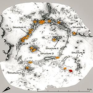 Immagine che riproduce le strutture dei cerchi nella caverna di Bruniquel.  Copyright: Image-credit-Jacques-Jaubert-et-al