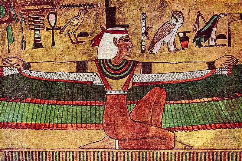Una bella immagine di Iside alata, signora del cielo, dalla Valle dei re.