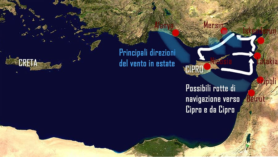 La carta illustra le rotte marittime seguite dai viaggiatori preistorici. Copyright: Reimund Schertzl