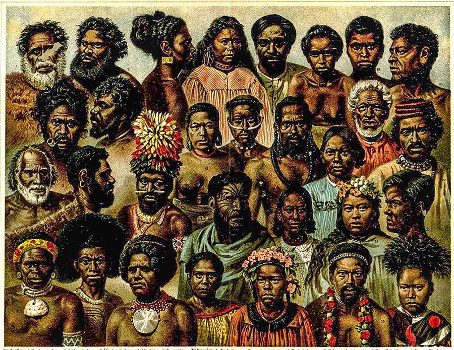 I popoli dell'Oceania. Illustrazione da: Mayers Konversationslexikon, 1885.