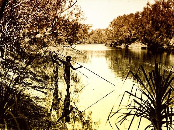 Degli aborigeni pescano armati di lance. Illustrazione del 1928. National Museum of Australia